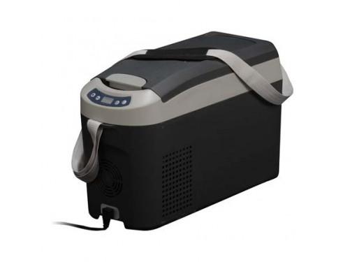 Nevera portátil de 15 litros, 12/24VCC - 35W. Concebido para ser instalado en pequeños espacios o bien para poder ser fácilmente transportado a cualquier parte gracias a su peso reducido y a la cómoda correa.