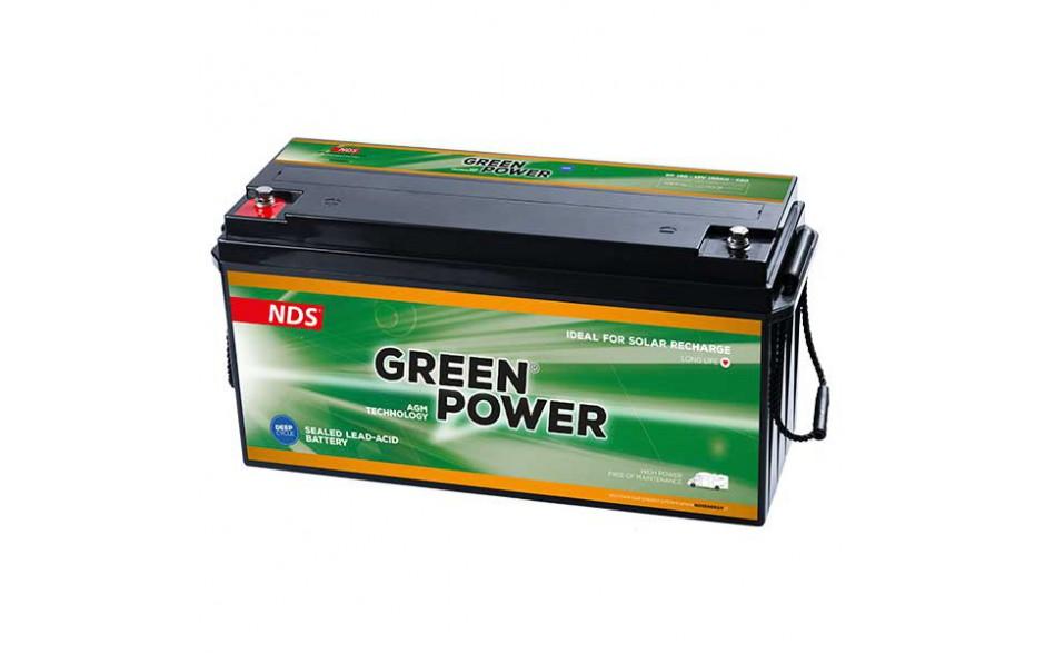 GP150 Batería AGM Green Power, 12V 150Ah. Batería de servicio de alto rendimiento, con tecnología AGM (fibra de vidrio absorbida) y diseñada para su uso en vehículos de servicio o de recreo.
