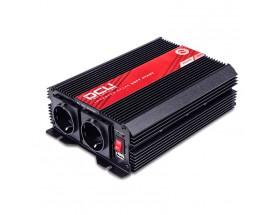 3741122000M Inversor 12V/230V, 2000W, de onda sinusoidal modificada con certificado TUV, vista en perspectiva lateral donde se aprecian los conector de entradas y el interruptor