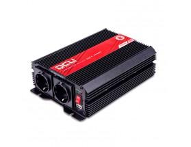 3741242000M Inversor 24V/230V, 2000W, de onda sinusoidal modificada con certificado TUV, vista en perspectiva lateral donde se aprecian los conector de entradas y el interruptor