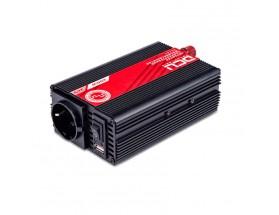 374124600M Inversor 24V/230V, 600W, onda sinusoidal modificada, soft-start. TUV.  Analiza las cargas que existen en la salida del equipo para suministrar gradualmente la tensión requerida, evitando así el suministro de una potencia innecesaria