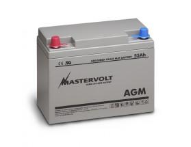 62000550 Batería AGM 12/55Ah , no requiere mantenimiento, tienen la capacidad de descargarse completamente cientos de veces. Vista en perspectiva de la parte frontal