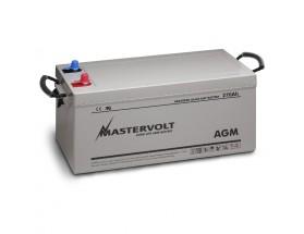 62002700 Batería AGM 12/270Ah, no requiere mantenimiento, tienen la capacidad de descargarse completamente cientos de veces. Vista en perspectiva de la parte frontal