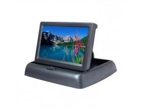"""MS-435P Monitor plegable de 4,3"""". Dispone de dos entradas de vídeo, trabaja a 12VCC y cambia automáticamente de señal al detectar señal de vídeo a través de la cámara trasera."""