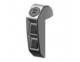 Conector trío USB, con doble toma USB y dos tomas CA