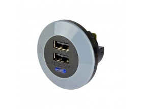 Cargador USB PowerVerter Pro-D, doble salida, 12/24V, 3A, frontal
